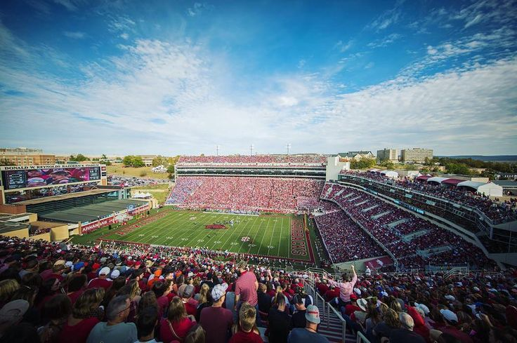 Stunning shot of the Arkansas #Razorbacks' stadium crowd sky and field! Thanks @gunnar97!   #SuperTailgate #tailgate #tailgating #win #letsgo #gameday #travel #adventure #stadium #party #sport #ESPN #jersey #sports #league #SportsNews #score #love #football #NCAAF #CollegeFootball
