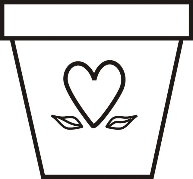 A Flowerpot With Heart And Leaves