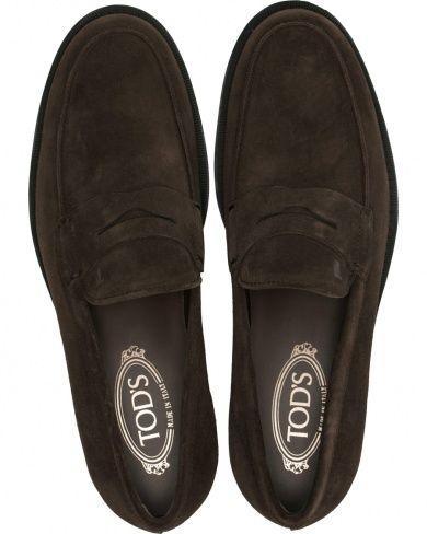 Tod's Mocassino Penny Loafers Dark Brown Suede i gruppen Design B / Skor / Loafers hos Care of Carl (14053011r)