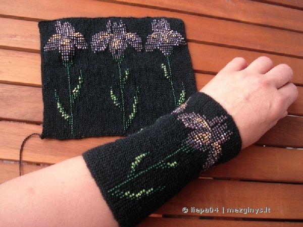 "Lithuanian beaded wrist warmers/ Riesines ""Irisai"""