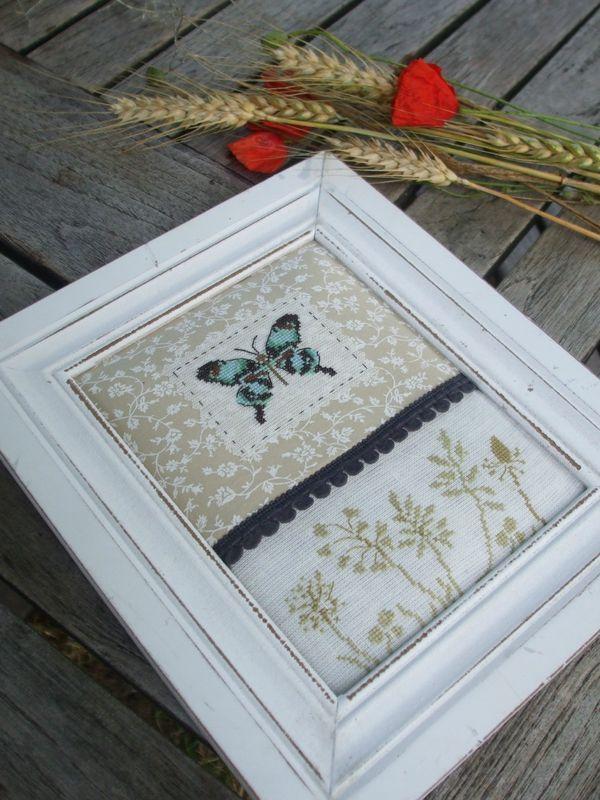 Kreuzstich Bild Schmetterling Frühling Sommer cross Stitching Picture Summer spring Flowers
