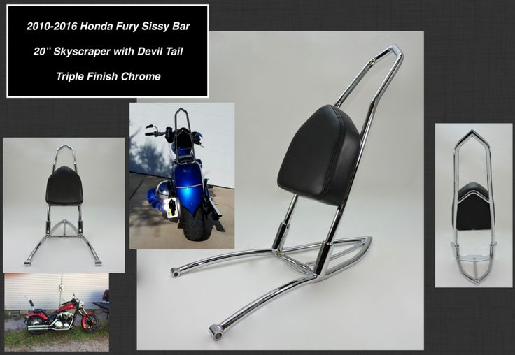 American-made high quality Honda Fury sissy bars and passenger backrests. Unique frame mount. No drilling required. . Low Prices. | Tomahawk Moto-Cycle Accessories.