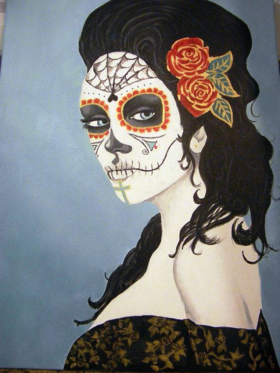 Custom Sugar Skull Painting. Customize your own by TheRareJewel, $100.00 #TheRareJewel
