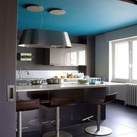 couleur cuisine plafond bleu murs peinture murale gris - Cuisine Gris Perle