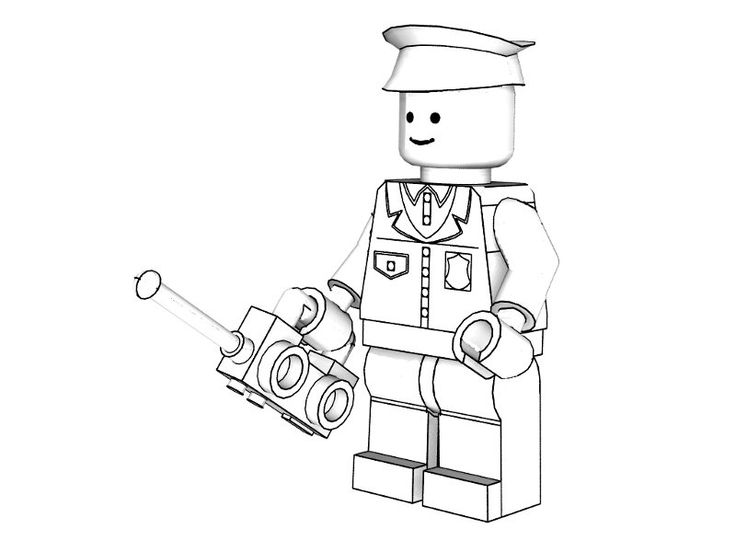 Police Coloring Pages To Print | 3D Lego Models - Colouring - Lego City Policeman downloads