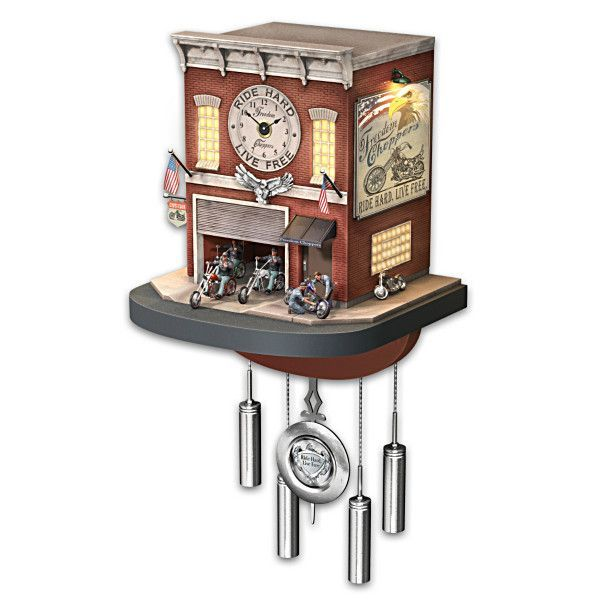 Hot new product added -  Freedom Choppers Motorcycle Garage Cuckoo Clock - http://ponderosa.co/b1001/freedom-choppers-motorcycle-garage-cuckoo-clock/