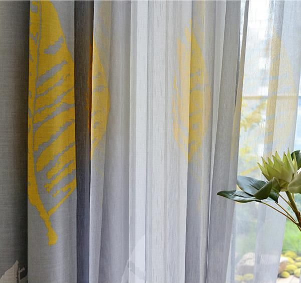 Yellow Grey Leaf Linen Sheer Blackout Curtain Set Free Shipping Blackout Curtains Curtains Curtain Sets