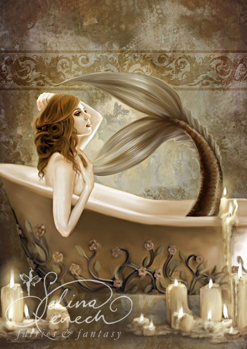 Art Print - Bathtime by Selina Fenech - This reminds me of the scene in Splash! where Darrel Hannah has a bath & turns back into a Mermaid