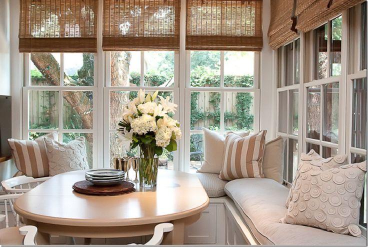 breakfast room in corner of kitchen, banquette seating