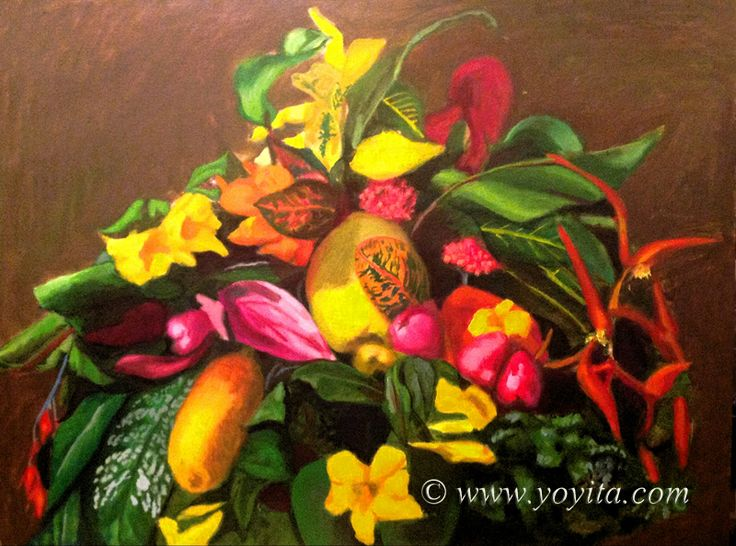 Flowers and fruit Still Life, Atelier Yoyita Gallery of Art classical realism tropical fruits heliconia and leaves.
