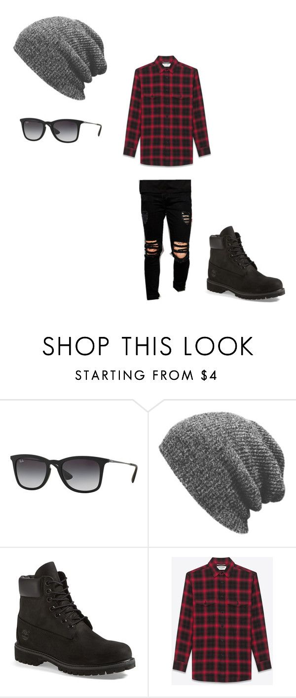 """pop punk style"" by martinsbernardo ❤ liked on Polyvore featuring Ray-Ban, Timberland, Yves Saint Laurent, Dark Future, men's fashion and menswear"
