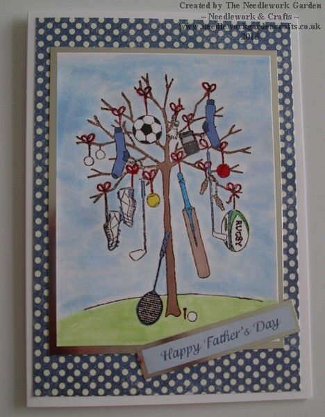 Man Tree! Perfect for sport loving Dads. Made using Little Claire Designs Man Tree stamp.