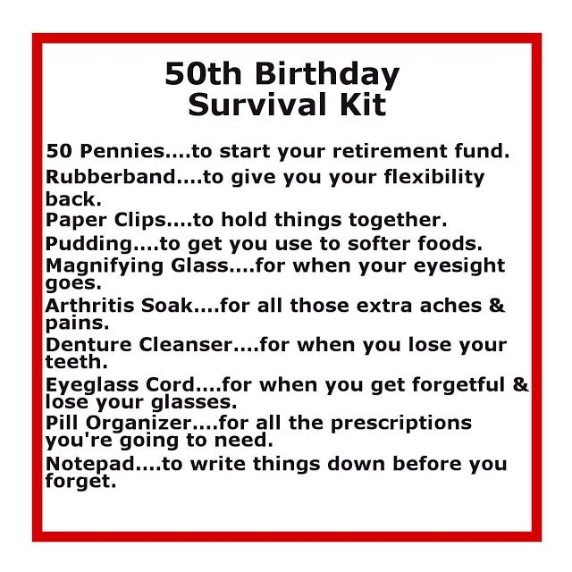 Some of the other funny items that friends came up with that I wasn't physically able to get that weekend were: *adult diapers *hemorrhoid crème *old lady clothes *fan {for hot flashes} *bra {to keep you lifted} *rejuvenating youth lotions *prune juice *bunion pads *support hose *Metamucil