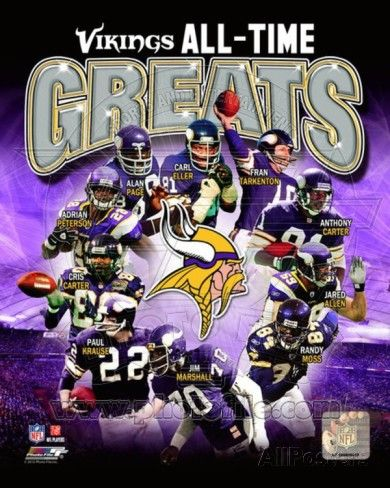 Minnesota Vikings All-Time Greats Composite Photo at AllPosters.com: Adrian L. Peterson, Randy Moss, Adrian Peterson, Jared Allen, Fran Tarkenton, Fran Tarkenton, Randy Moss, Paul Krause, Paul Krause, Cris Carter, Jared Allen, Carl Eller, Alan Page #SkolVikings