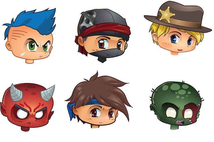 The final in game male character avatars - vector art with final 2D polish