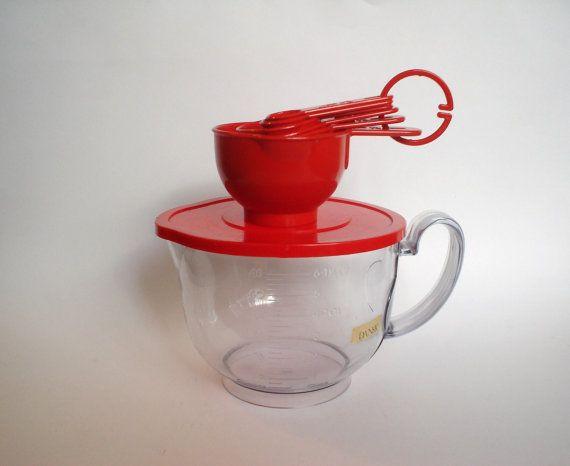 SALE Dansk Red Clear Plastic Measuring Bowl Spoons Lid Gunnar Cyren NWT Tag Label Vintage MCM Midcentury Modern Kitchenware on Etsy, $18.99