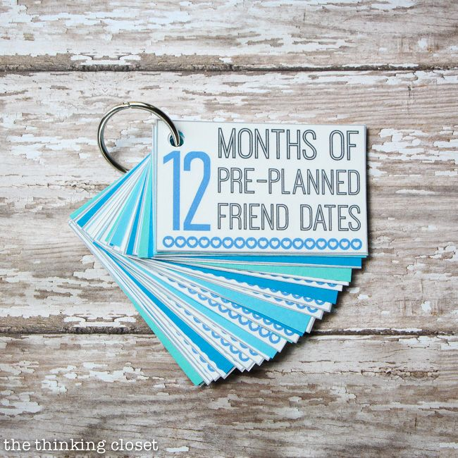 12 Months Of Pre Planned Friend Dates FREE Printable Pack Such A Creative And Meaningful Gift