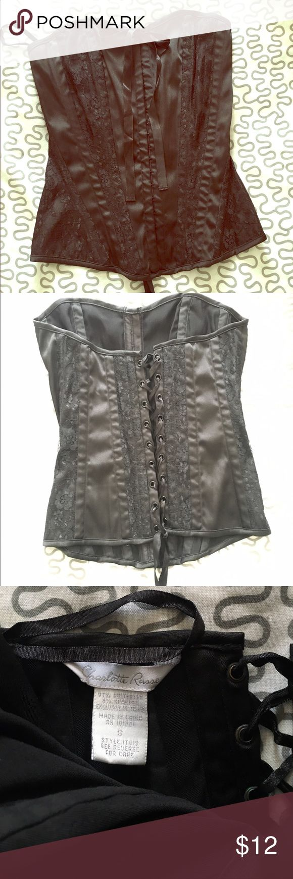 🔥Super Sexy Corset🔥 with lace applications 🔥 💥Charlotte Russe lace Up Black Corset/ Bustier with Lace Accents🔥Front Steel hook closure. Ribbon ties at chest. Dramatic lacing at back provides a slimming silhouette, Reduces waistline by up to 4 inches, and flattens the tummy. Lace trim, plastic boning. Charlotte Russe Accessories