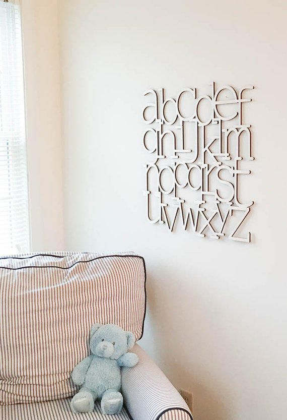 Alphabet Wall Art Natural wood finish laser cut wooden Alphabet letters Alphabet nursery decor ABCs modern baby nursery from Moon Snail Creations.
