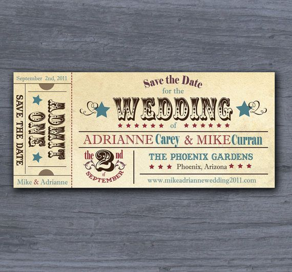 Vintage Ticket Save the Date Wedding Invitation Sample FREE Shipping within the US on Etsy, $1.75