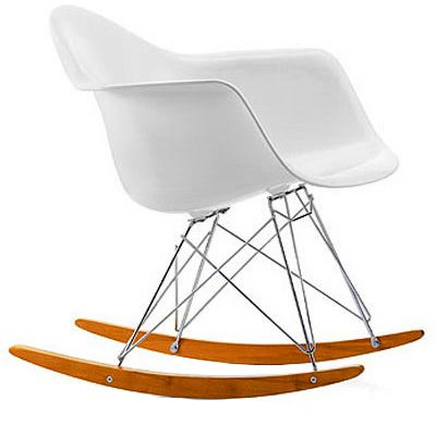 RAR plastic armchairs by Charles & Ray Eames at the end 1940′s.    These models were showed to the public for the first time in the 'low cost furniture design' contest organized by the Museum of Modern Art in New York.  The shell is made of molded plastic with organic and fluid lines. It was coupled with different feet, as the RAR rocking chair which has been a huge success. The chairs are durable performers in many environments.