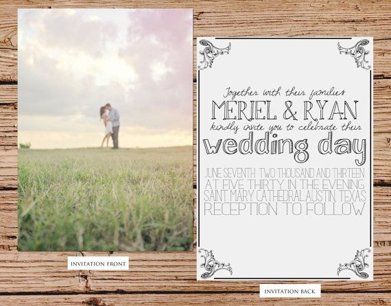 Custom Photo Wedding Invitation by JulsNewbrough on Etsy, $35.00 Not very formal, but the picture idea is cute!