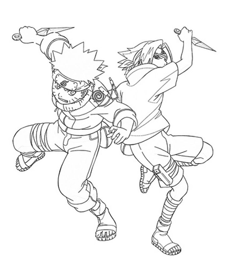 Naruto And Sasuke Fight Coloring Pages For Kids Printable