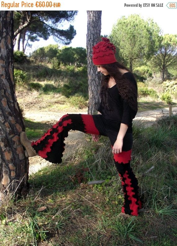 SALE Patchwork flare pants Hippie Boho Gypsy pants Red and Black Festival clothing Recycled Upcycled wool pants OOAK