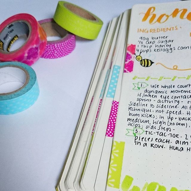 my single use for washi tape in my bullet journal is for tabs. they are colour coded as well! I do still use the index, as I figure when i've got a few bullet journals that will make life easier when on a search for something.  colour code (from bottom): green - netball (bought from a stationary store in Canberra city) pink - collections frequently visited (bought from same store as above) blue - health and monthly trackers (bought from Typo) pink/purple/orange pattern - recipes (bought in…
