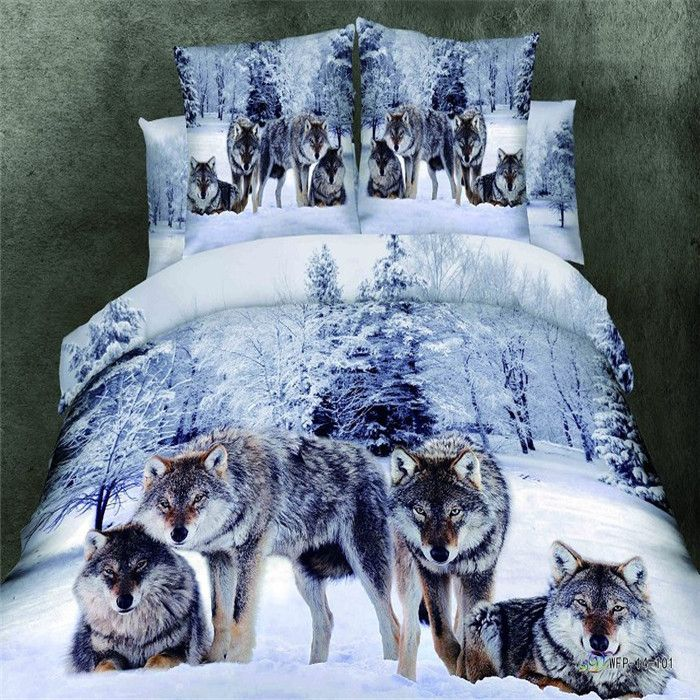 high quality fashion 3d reactive painting,wolf,animal bedding set 4pcs,queen / king, bed cover / bed linen / bedspread-in Bedding Sets from Home & Garden on Aliexpress.com | Alibaba Group