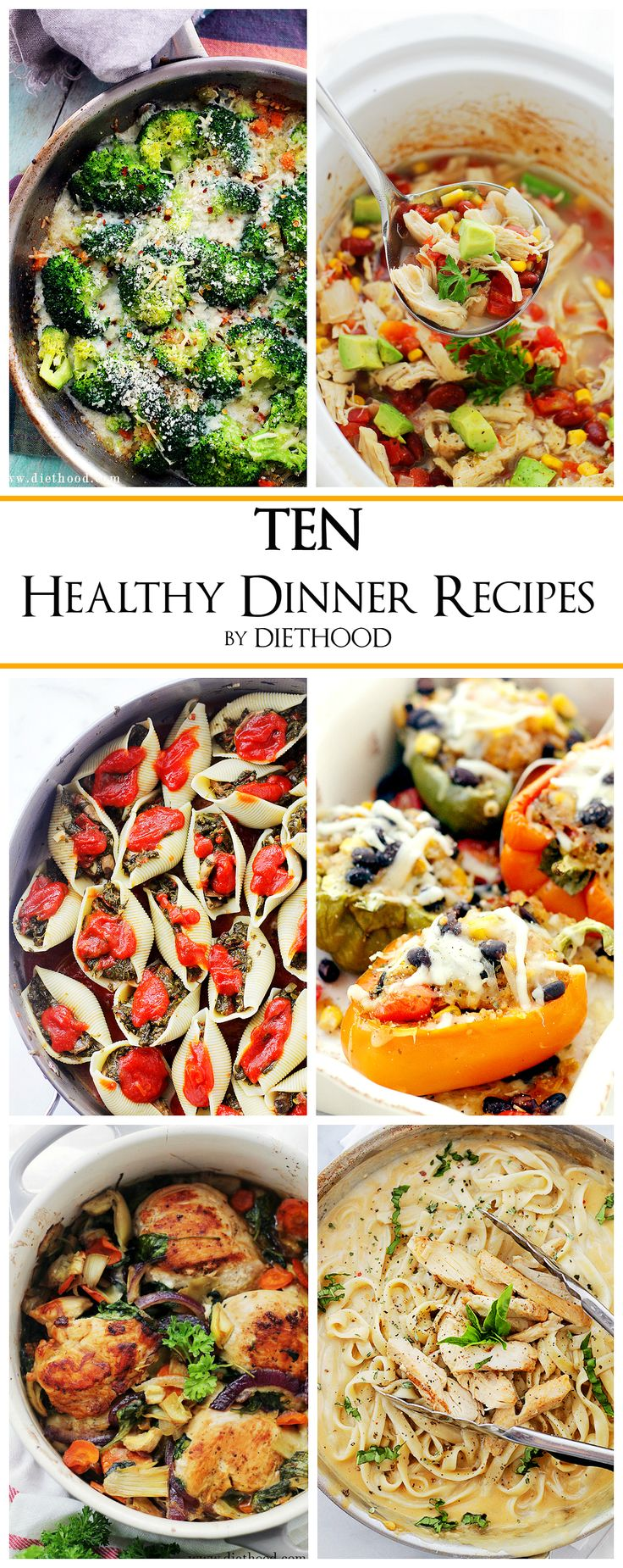 TEN Healthy Easy Dinner Recipes + Kale & Feta One-Pot Pasta | www.diethood.com