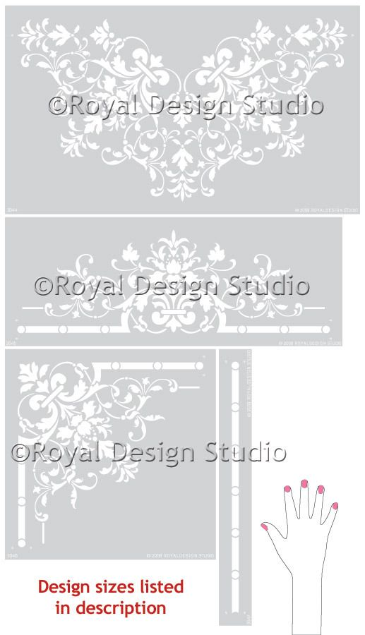 The complete Victorian Ceiling Stencil Collection is based on a series of classic European stencil patterns from the early 1900s. This grand ceiling stencil set for your living room, dining room, or e
