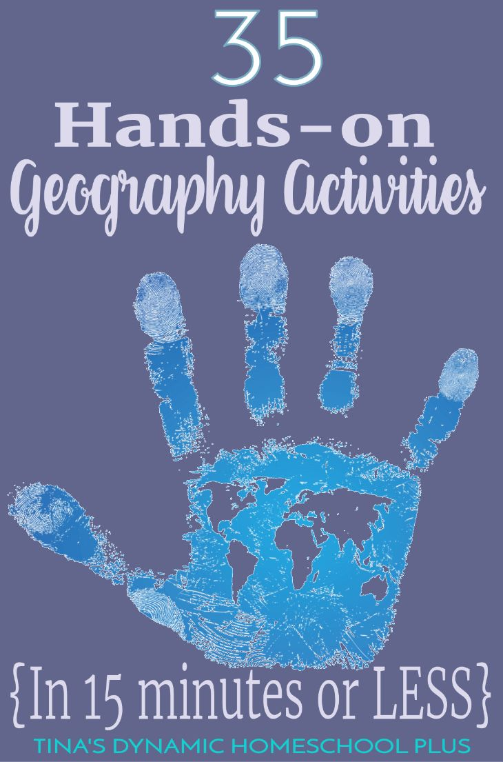 Whether you want to spend minimal time planning geography, you're preparing for a homeschool co-op or just need some quick hands-on geography activities, you'll love this round up of 35 hands-on geography activities to do in 15 minutes or less. Click here to get inspired!