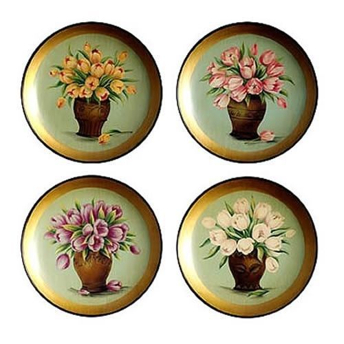 New Decorative Plate Tulips in Vase 10  Set of 4 64389 | eBay BIN $24.99  sc 1 st  Pinterest & Best 79 Decorative Plate Sets images on Pinterest | Plate sets ...
