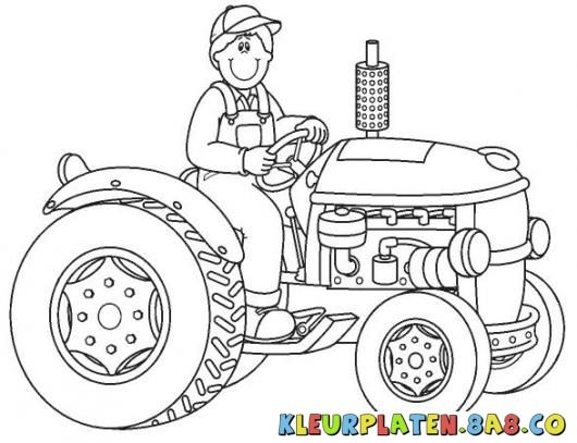 kleurplaten kleine rode tractor