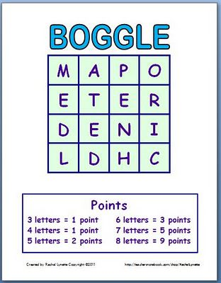 Boggle Template: Make a New Game Each Time!  Email ThisBlogThis!Share to TwitterShare to Facebook