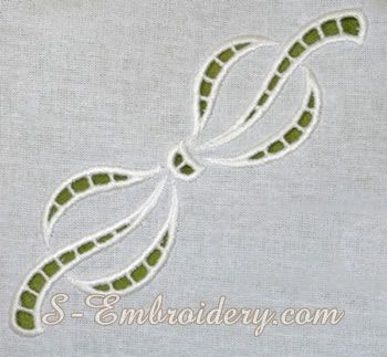 Bow cutwork lace machine embroidery design