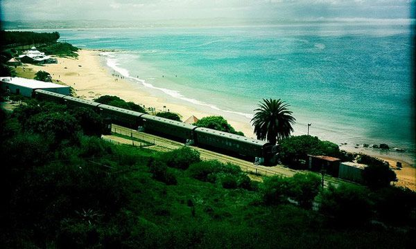"""Santos Express Train Lodge (known simply as """"The Train"""") by travelers is located in Santos beach, Mossel Bay in the heart of the famous Garden Route of South Africa. It is privileged placed 30 meters from the Indian Ocean shores, so guests can enjoy the views and feel the breeze. (3)"""
