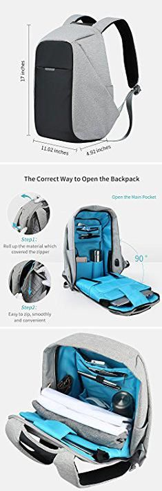Anti Theft Travel Backpack. Oscaurt Travel Anti-theft Backpack Business Laptop Backpack College Students Book Bag with USB Charging Port Work Men & Women Grey.  #anti #theft #travel #backpack #antitheft #thefttravel #travelbackpack