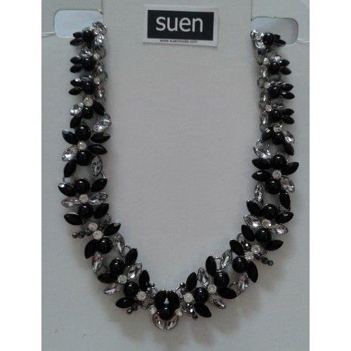 collar flores negras/blancas   suen-Vestidos de fiesta baratos Vestidos online