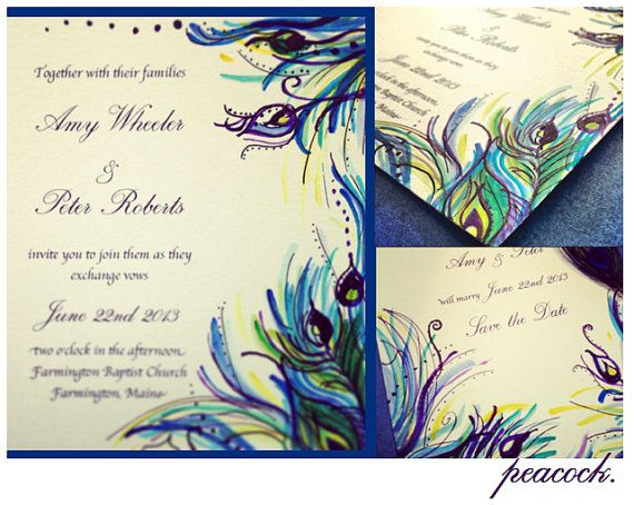 { s a m p l e }  Order a sample of this beautifully hand-painted peacock wedding suite and get a feel for the invitations. Included in the