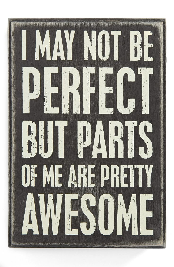 I may not be perfect but parts of me are pretty awesome.