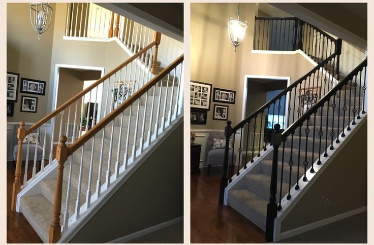 Oak Railings Sanded And Stained Espresso White Balusters