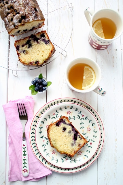 Rating 4 - Plumcake ai mirtilli con sciroppo alla menta - Plumcake with blueberry and mint syrup