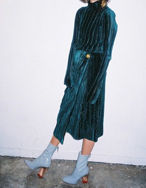 Velvet dress with PVC boots - yes