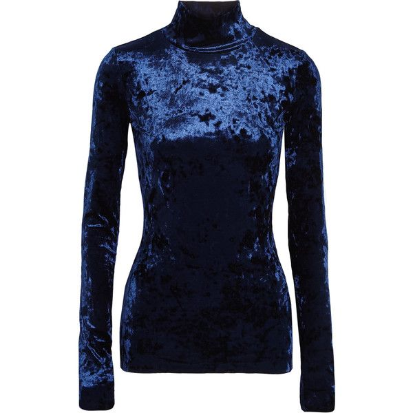 Tibi Stretch-velvet turtleneck top ($275) ❤ liked on Polyvore featuring tops, navy, stretch turtleneck, stretch top, stretchy tops, slouchy tops and navy blue turtleneck