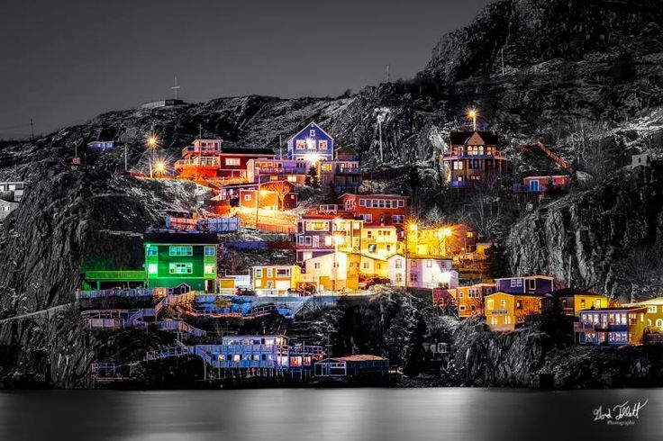 Colours of the Battery St. John's Newfoundland. The Battery is known for it's colourful houses perched along the hill. Here is a black and white version leaving only the colours of the houses. Photo by Gord Follett Photography.