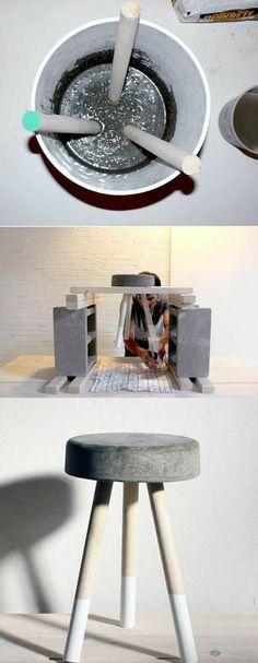 uma banqueta feita de cimento e um cabo de vassoura velha cortado em três.