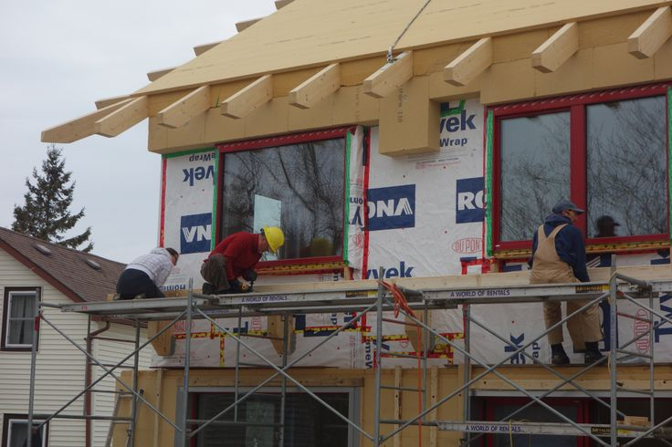 Cross-laminated timber with mineral wool out-sulation | Wolfe Island Passive House Project