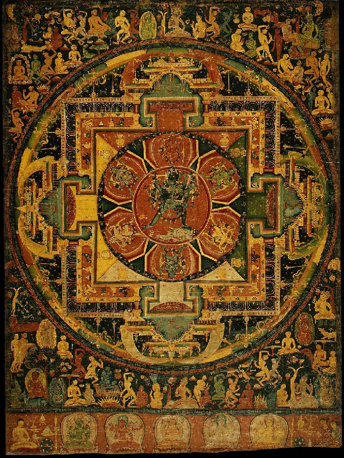 Chakrasamvara Mandala, Nepal, 1100-1199, Metropolitan Museum of Art. One of the oldest mandala paintings on cloth known to exist. It is very detailed with figures, many doing forms of tantric yoga and dance.